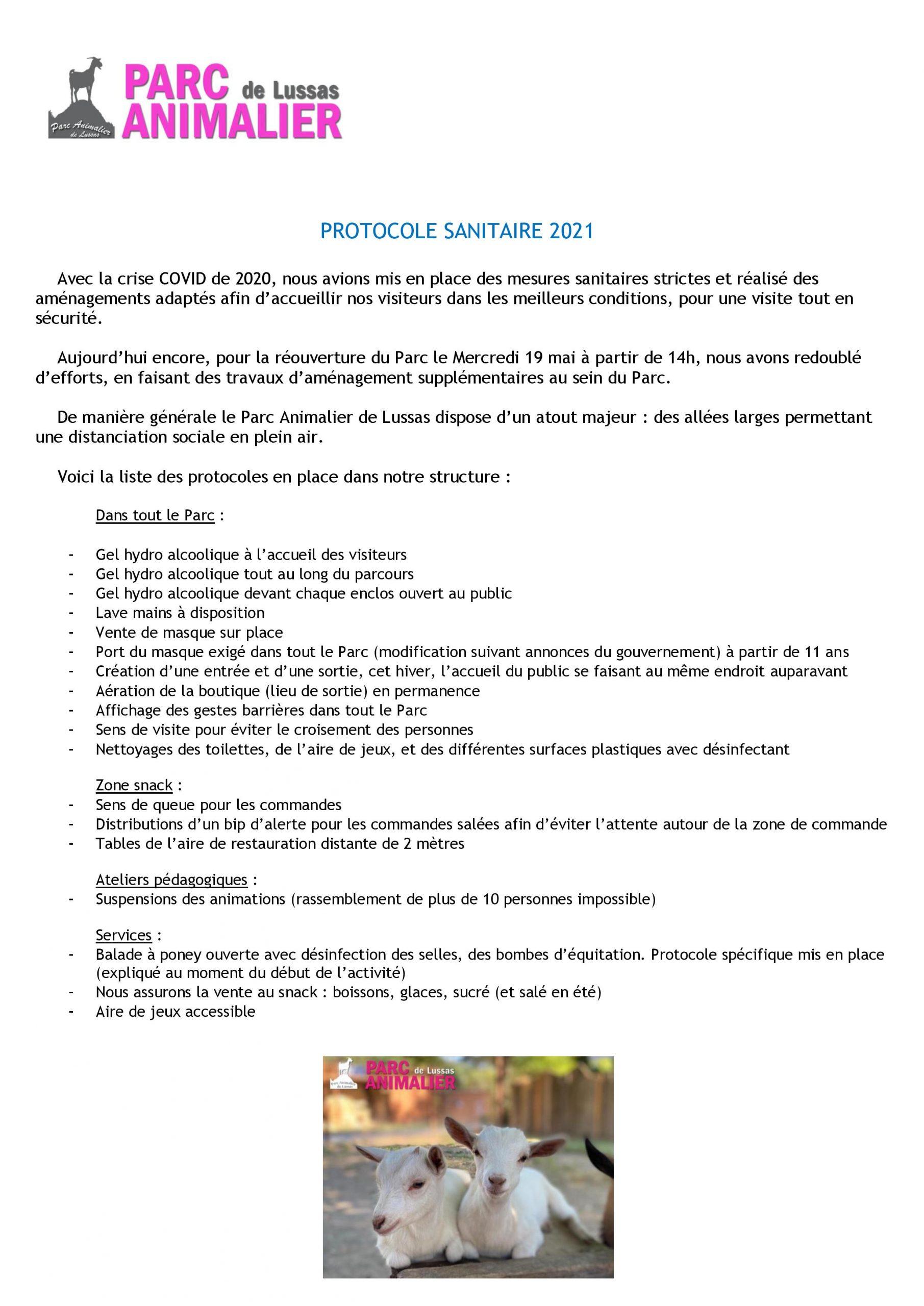 Protocole sanitaire au Parc Animalier de Lussas